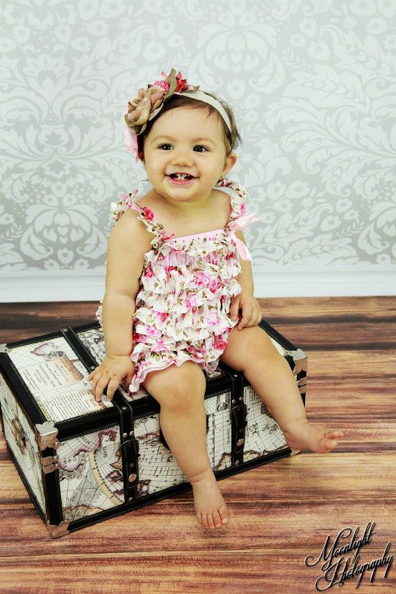 floral petti romper with matching vintage headband.  perfect photo prop-f38509