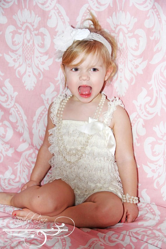 headband and vintage inspired ivory ruffled lace petti romper with ribbon bow - customize colors and-f93683