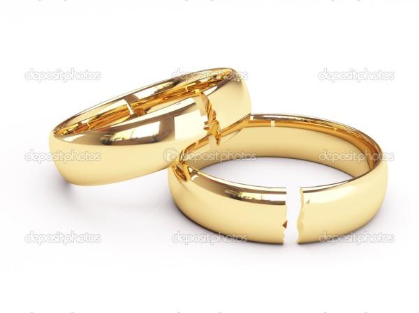 Broken gold wedding rings