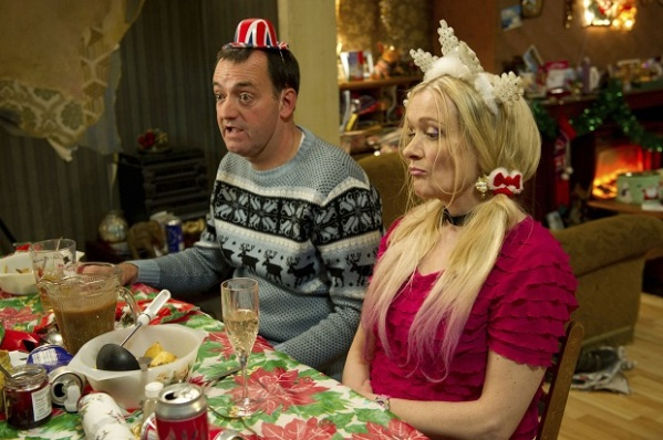 Programme Name: Royle Family - TX: n/a - Episode: n/a (No. 1) - Embargoed for publication until: 05/12/2012 - Picture Shows: (L-R) Dave Best (CRAIG CASH), Denise Best (CAROLINE AHERNE) - (C) Jellylegs - Photographer: Vishal Sharma